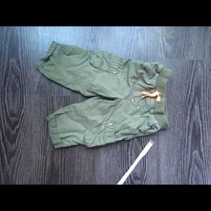 Toddler cargo pants in green and orange
